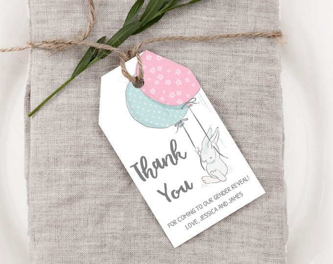 Bunny Baby Shower Thank You Cards, Gender Reveal Thank you Tags, Instant Access, Editable and Printable by you with Corjl, DIY Bunny Tags