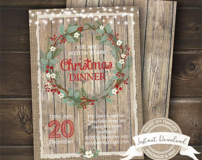 Rustic Christmas Dinner Invitation | Printable Christmas Invite