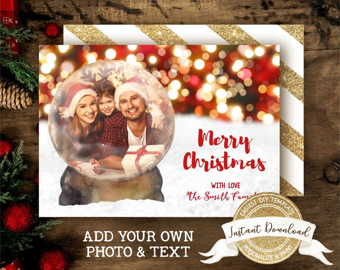 Snow Globe Christmas Photo Card | DIY Christmas Card | Merry Christmas Card