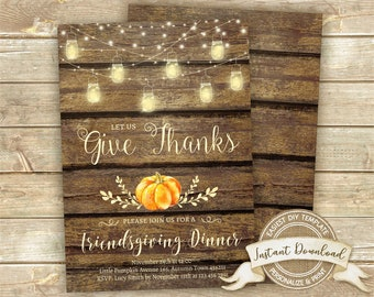 Rustic Friendsgiving Invitation, Thanksgiving Dinner Invitation, Instant Download, Editable Thanksgiving Invite, Printable Give Thanks