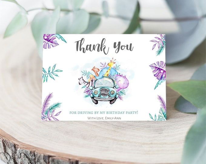 Printable Drive By Thank you Cards, | Drive By Birthday Party Favors