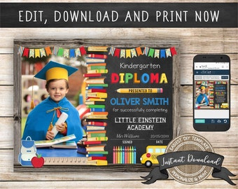 Editable Kindergarten Diploma with Photo, Any Grade, INSTANT DOWNLOAD, Printable Preschool Certificate, Graduation Diploma