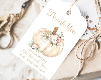 Fall Bridal Shower Thank You Tags, Instant Access, Editable Printable, Floral Pumpkin Bridal Shower Party Favors, Pumpkin Thank You Cards