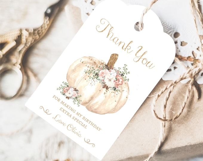 Floral Pumpkin Thank you Tag, Instant Access, Editable and Printable by YOU, Fall Thank You Tags, Pumpkin Birthday Thank You Cards for Girl