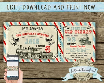 Train Birthday Invitation for a Boy, Instant Download, Printable and Editable by you with Corjl, Train Party Ticket