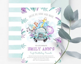 Drive By Birthday Parade Invitation | Virtual Safari Party First Birthday Drive-Through Invite
