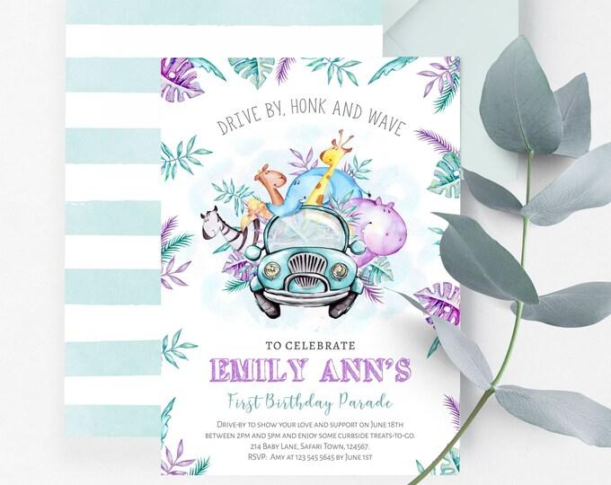 Drive By Birthday Parade Invitation | Virtual Safari Party First Birthday Drive-Through Invite