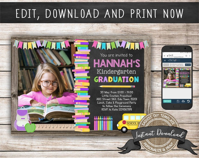 Kindergarten Graduation Invitation with Photo for a Girl, Editable and Printable by you with Corjl, INSTANT DOWNLOAD