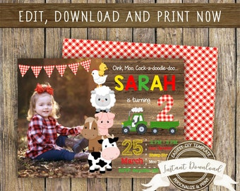 Farm Birthday Photo Invitation for a Boy or Girl, INSTANT DOWNLOAD, Editable and Printable by you with Corjl, Any Age, Farm Birthday Invite