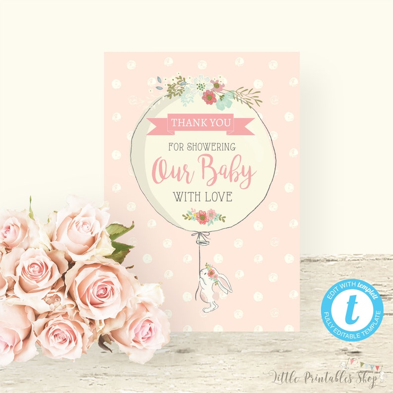 Bunny Baby Shower Thank You Card Instant Download Editable Etsy