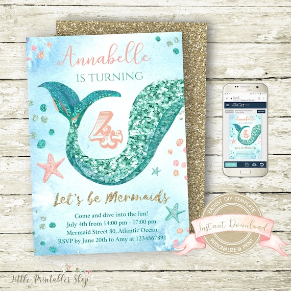 Mermaid Birthday Invitation For A Girl Instant Download Digital Printable Invite Editable By You With Corjl