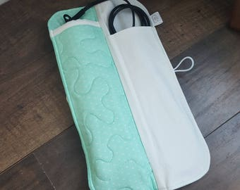 Flat Iron Case, Curling Wand Case, Heat Resistant Holder, Mint Blue, White Hearts, Travel Essentials, Gifts For Her