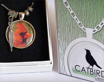 "Cardinal photo Pendant 1 - 18"" necklace - perfect gift"