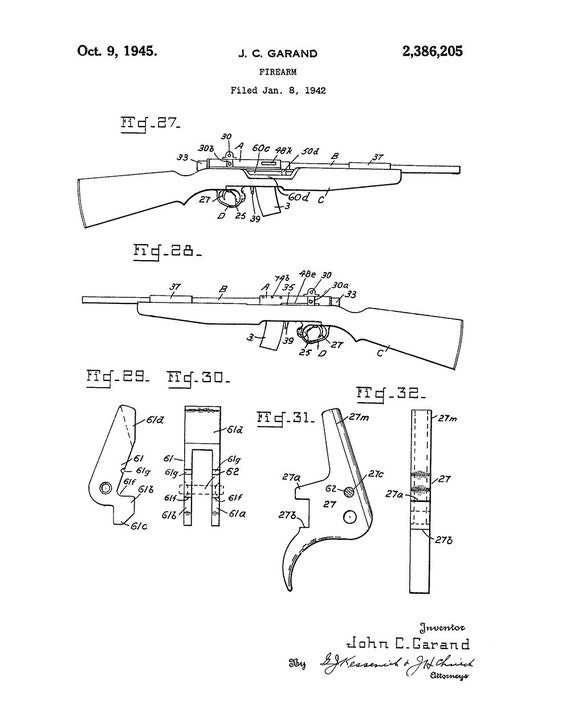 Vintage Rifle Patent Art Print Winchester Browning Patent