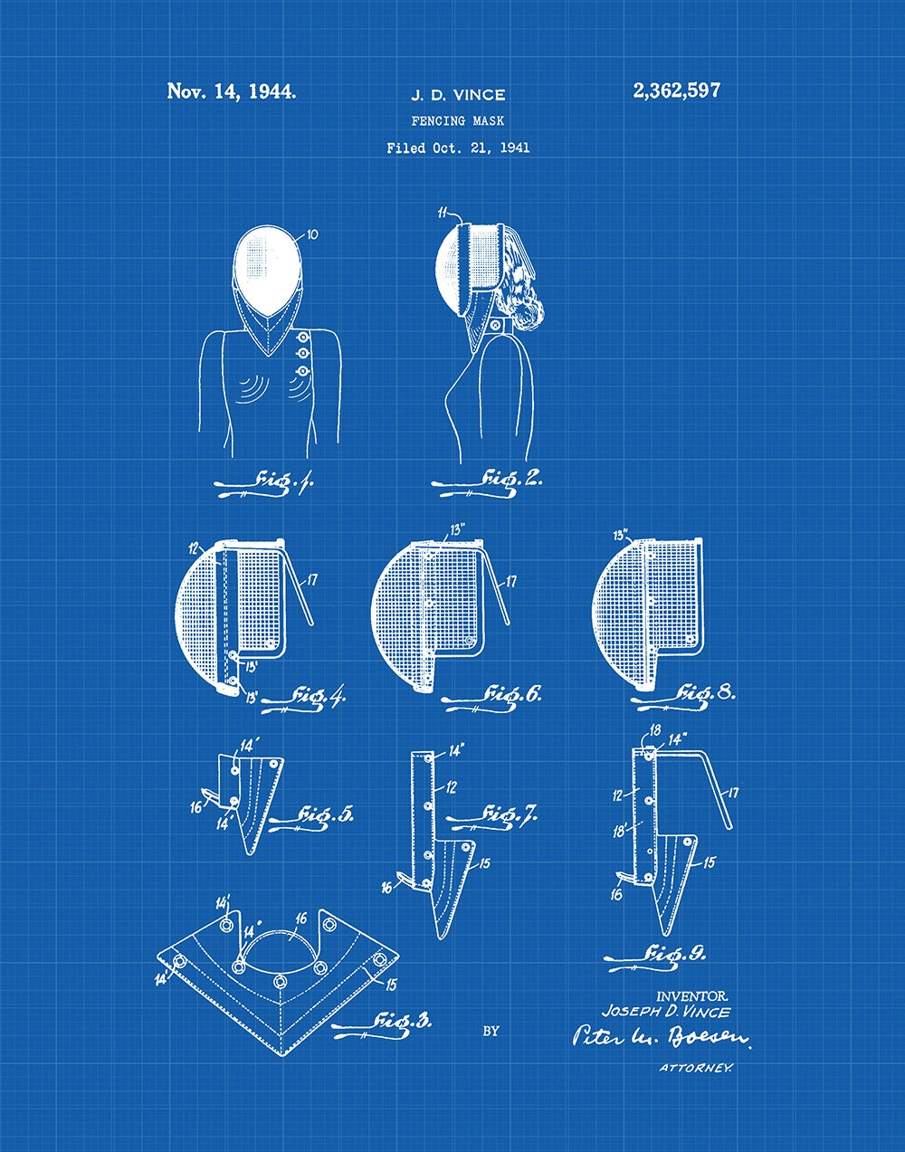 Fencing Mask Patent Art Print Sword Electric Fence Schematic Fences Fighting