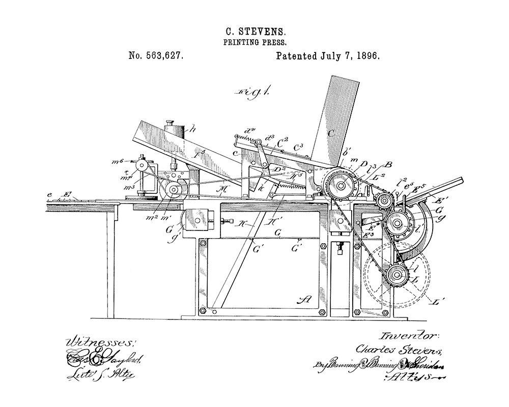 Fabulous Stevens Printing Press Patent Art Print Printing Press Patent Wiring Digital Resources Attrlexorcompassionincorg