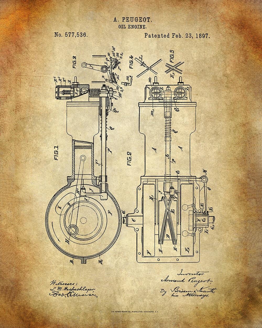 Peugeot Oil Engine Patent Art Print - Four Cycle Engine Patent Print ...