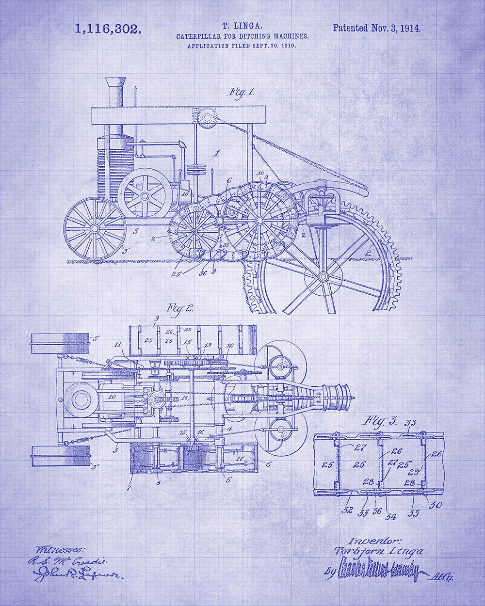 Caterpillar For Ditching Machines Patent Art Print Heavy Equipment 13 Cat Engine Diagram Gallery Photo