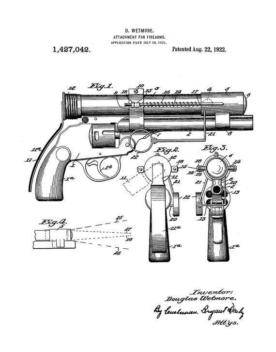 Silencer For Firearms Patent Art Print Pistol Patent Art