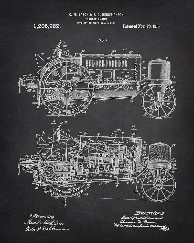 Tractor-engine Patent Art Print - Wallis Tractor Patent Art Print -  Agriculture Related Patent Art Print - Farm Equipment Patent Art Print