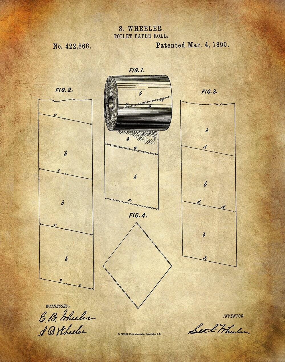 Toilet Paper Roll Patent Art Print - Bathroom Patent Print - Patent ...
