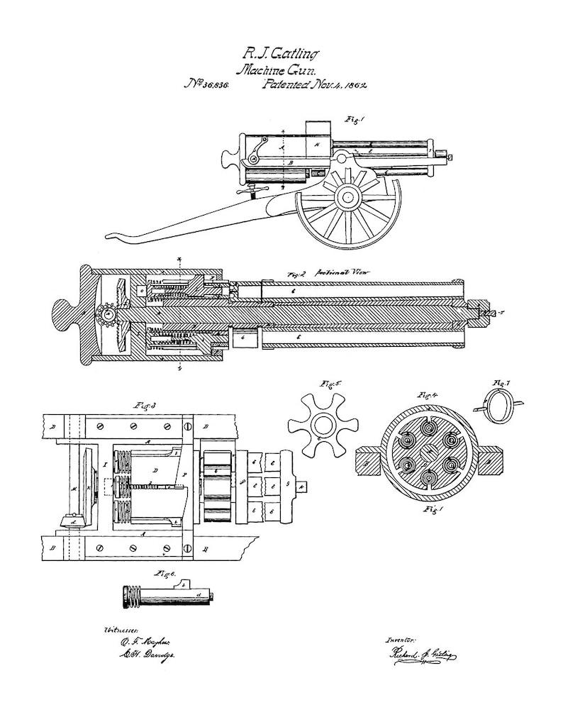 Gatling Gun Patent Kunstdruck - Maschinehr Patent Kunstdruck - Patent on