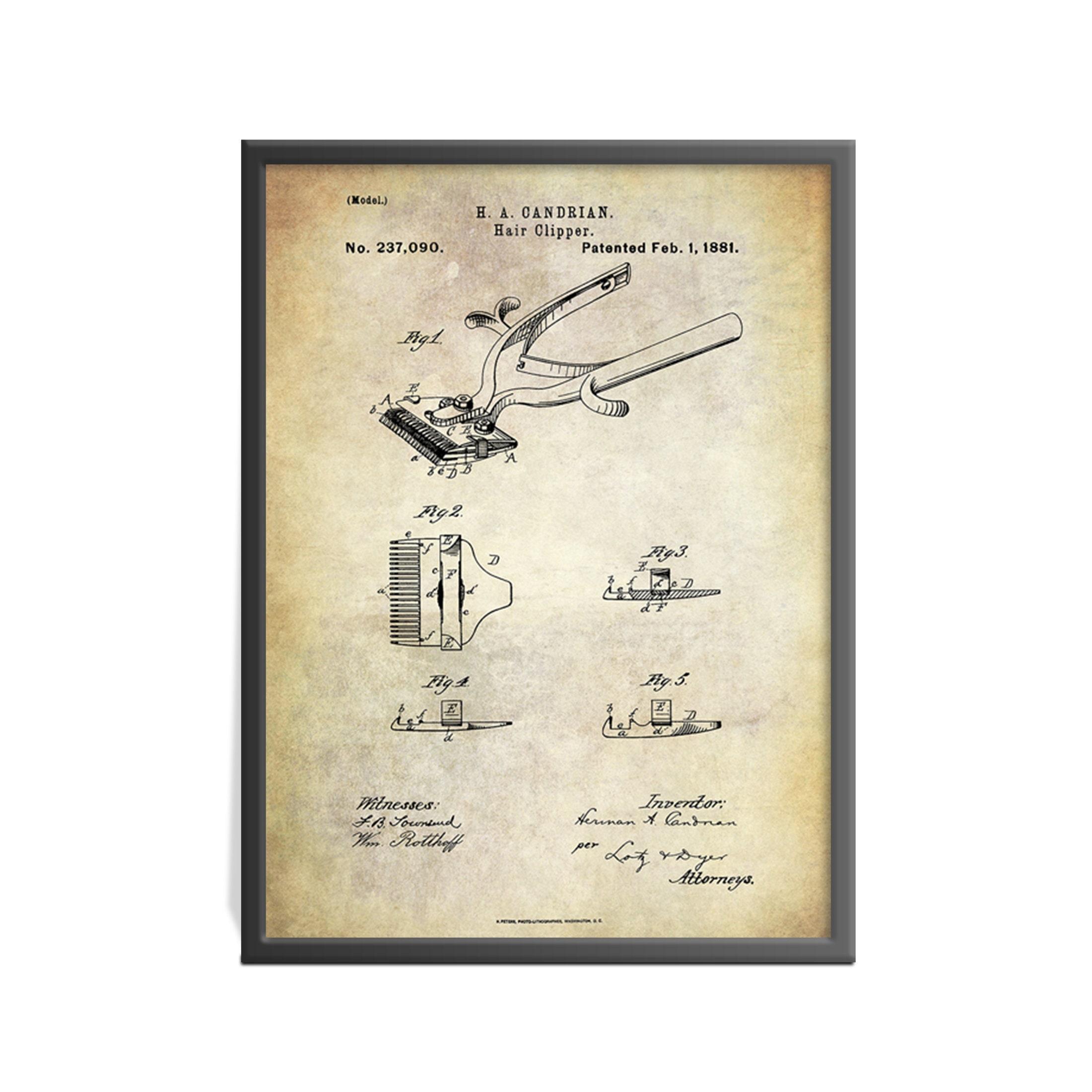 Awe Inspiring Vintage Hair Clippers Patent Print Vintage Barber Shop Patent Art Wiring Digital Resources Jebrpkbiperorg