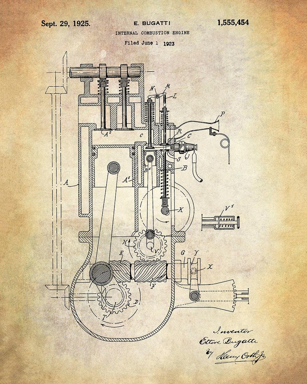 bugatti engine patent art print ettore bugatti internal combustionbugatti engine patent art print ettore bugatti internal combustion engine patent art print automotive engine patent print