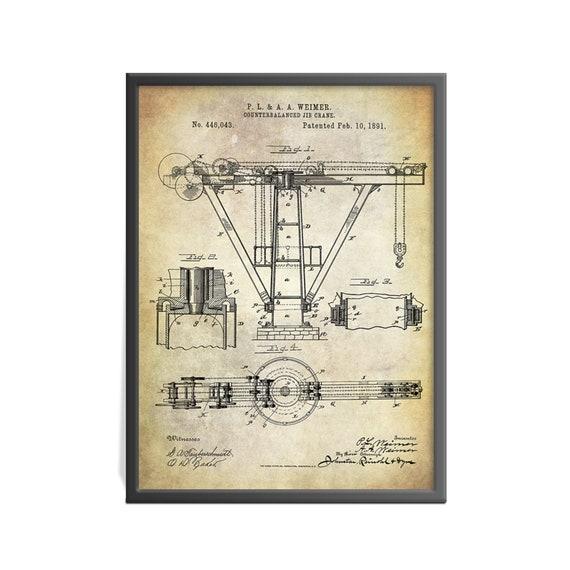 Counterbalanced Jib Crane Patent Art Print - Crane Patent - Weimer Jib  Crane Patent Print - Heavy Equipment Patent Art Print - Vintage print