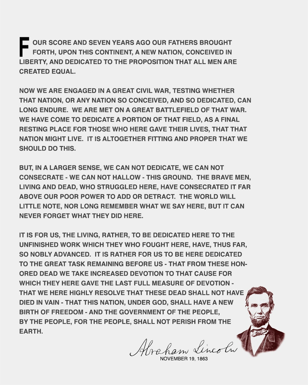 photo about Gettysburg Address Printable titled The Gettysburg Protect Wall Artwork Print - Abraham Lincoln