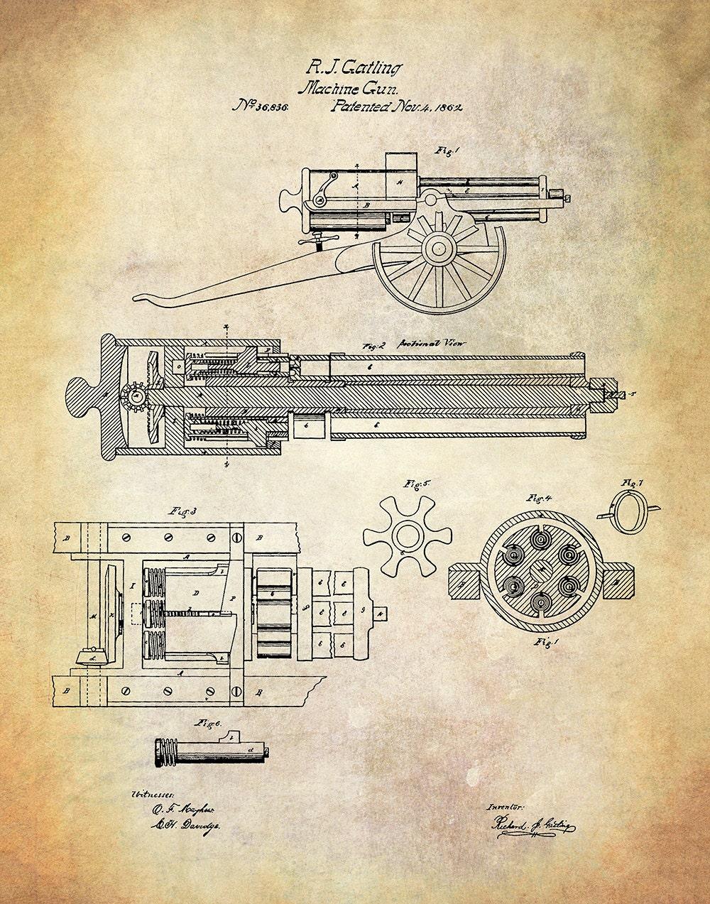 Vintage Machine Gun Patent Art Print - Gatling Patent Print