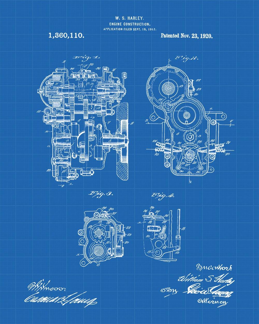 Harley Engine Construction Patent Art Print Davidson Diagram Motorcycle