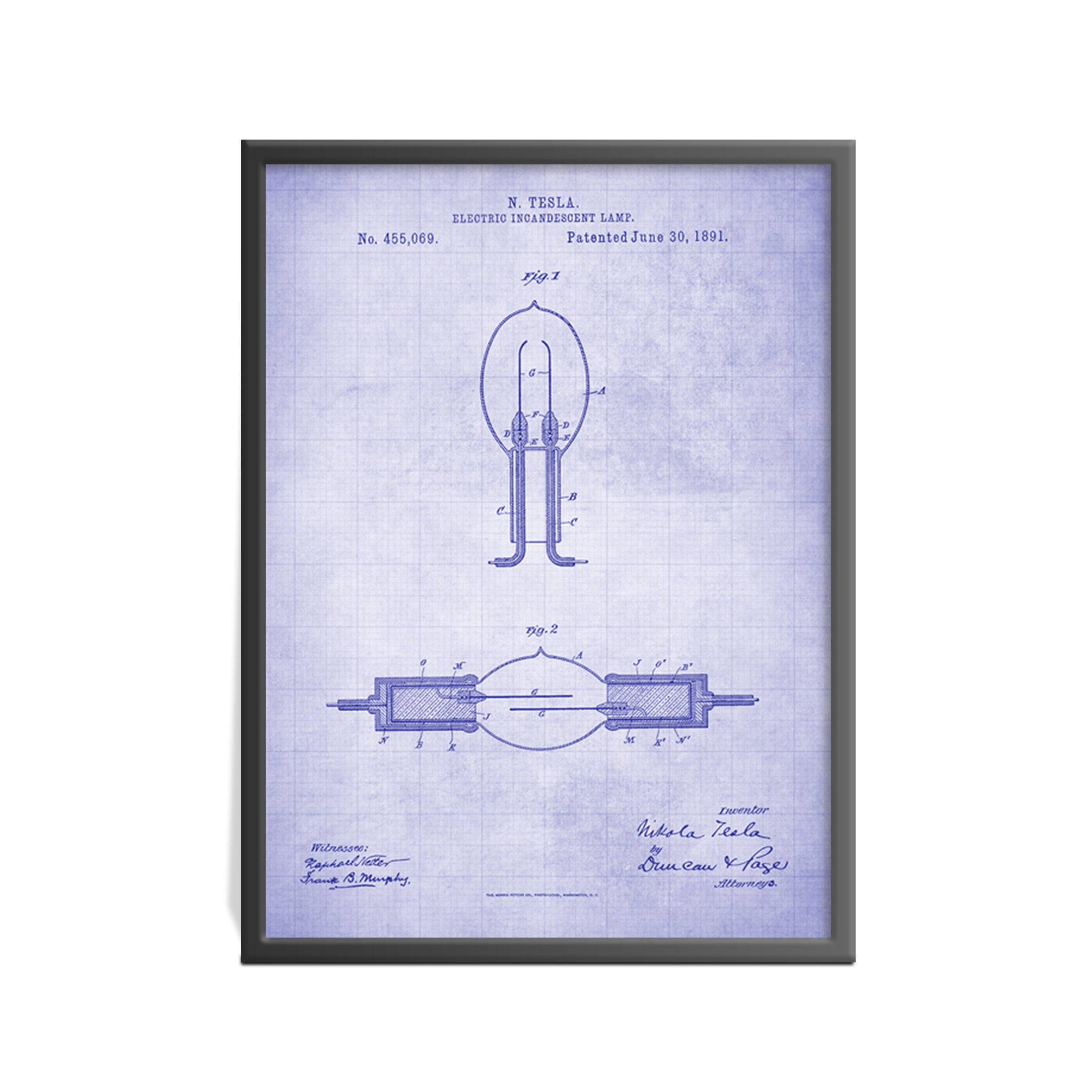 Patent Art Print Of Nicola Tesla Electric Incandescent Lamp Light Bulb Diagram Poster Electricity