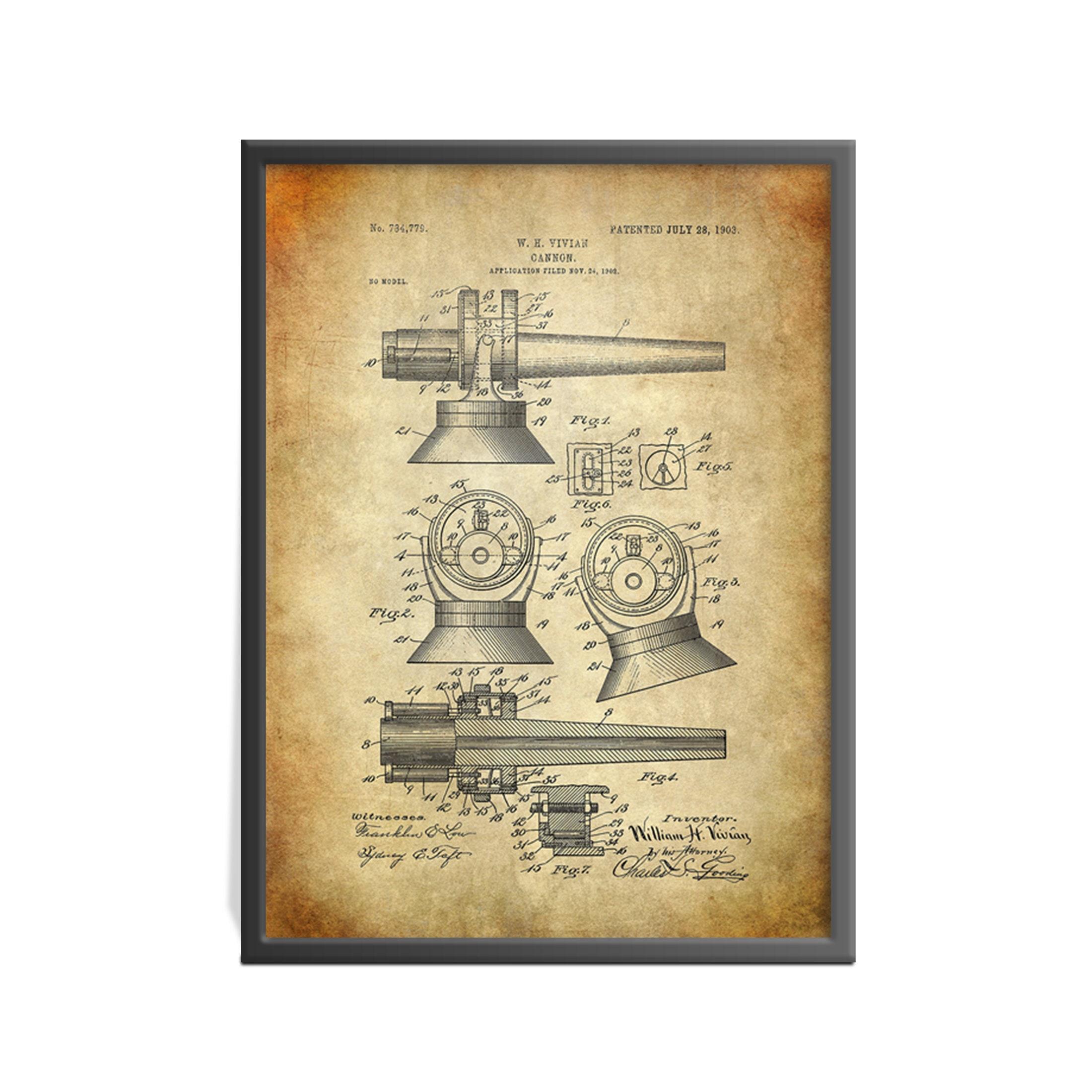 Cannon Patent Art Print Patent Print Patent Art Print