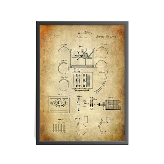 eli whitney cotton gin patent art print historic patent art etsy