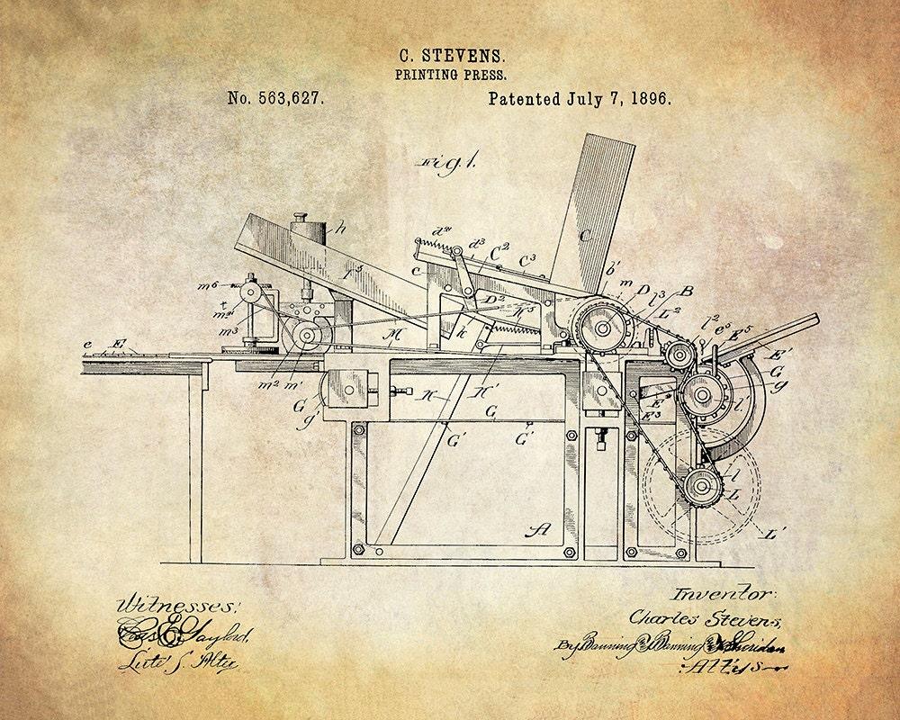 Groovy Stevens Printing Press Patent Art Print Printing Press Patent Wiring Digital Resources Attrlexorcompassionincorg