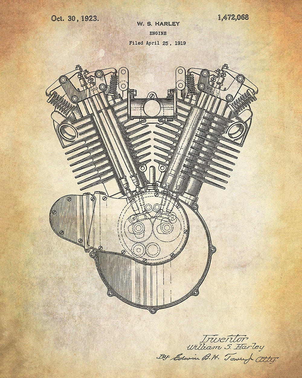 Diagram Motorcycle Engine Art Schematic Diagrams Harle Davidson Harley Internal Combustion Patent Print V Twin