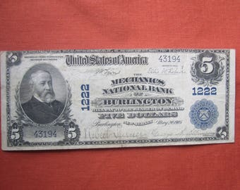 Large Five Dollar National Curency Series of 1902 Note Burlington N.J. { F598}