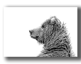 Portrait of a Grizzly - Black & White Grizzly Bear photo by award-winning wildlife photographers of Grey Ghost Nature Photography