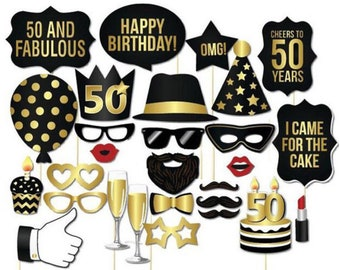 28 Photo Booth Props For 50th Birthday Party Celebration Fun And Classy Photos Fifty Fabulous Happy Balloons Black Gold