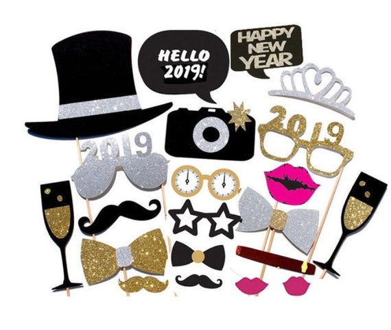 2019 New Years Eve Silver And Gold Photo Booth Props