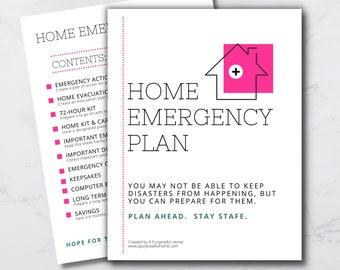 Printable Home Emergency Plan - Emergency Binder - Emergency Preparedness Kit - PDF Printable Emergency Information Workbook - Digital File