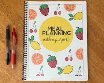 Meal Planning with a Purpose - Two Week Meal Planner - One Year Meal Planning Book - Grocery List - Meal Planner Notebook - Meal Prep