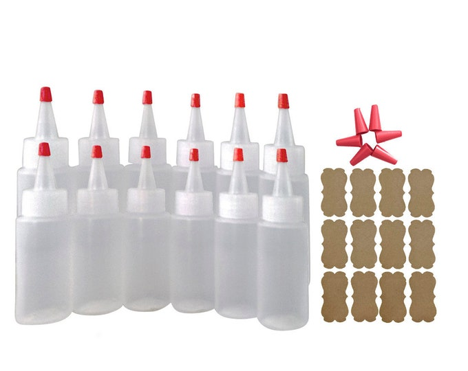 12/pk 2oz Plastic Squeeze Bottles Yorker Caps for Cake Decorating Paint Crafts Condiments Replacement Long Over-Cap Tips & Kraft Label Bonus