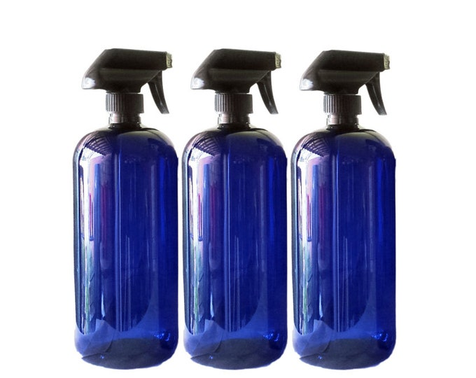 32oz Plastic Bottles Blue PET Round Bottles w/ Black Trigger Spray Available in 1, 3 + Kraft Labels
