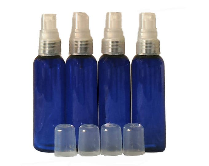 2oz Cosmo Round Plastic Bottles Leak Proof Fine Mist Sprayer Qty 4/pk in Purple,  Blue, Green or Amber