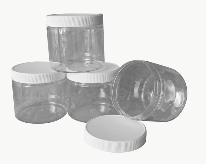 16 oz PET Plastic Jars Clear w/ white caps Qty 4 - Perfect for DIY lotion, creams, bath salts etc + Chalkboard labels