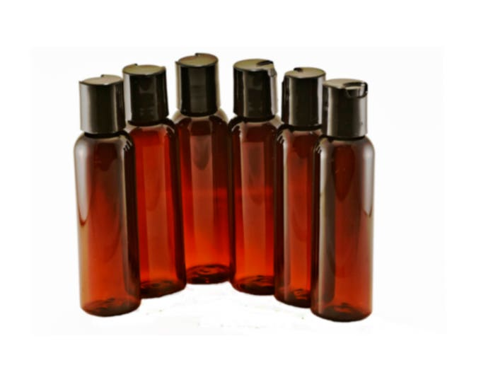 2oz Plastic Bottles Amber PET 60 ml Includes Smooth Black Disc Top Caps Qty 6, 8 or 12