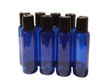 2oz Plastic Bottles Blue PET Qty 6, 8 or 12 Includes Smooth Black Disc Top Caps 60ml or 2oz