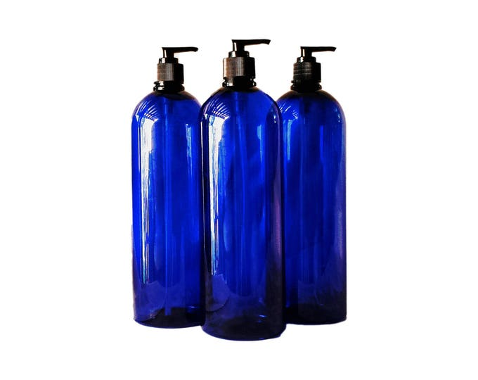 32 oz Plastic Bottle Cobalt Blue Tall PET Round Bottles w/ Black Lotion Pumps Available in 1 & 3+ Kraft Labels